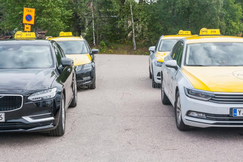 KOUVOLA, FINLAND - SEPTEMBER 18, 2018: There is taxi rank on the street of Inkeroinen.  royalty free stock photography