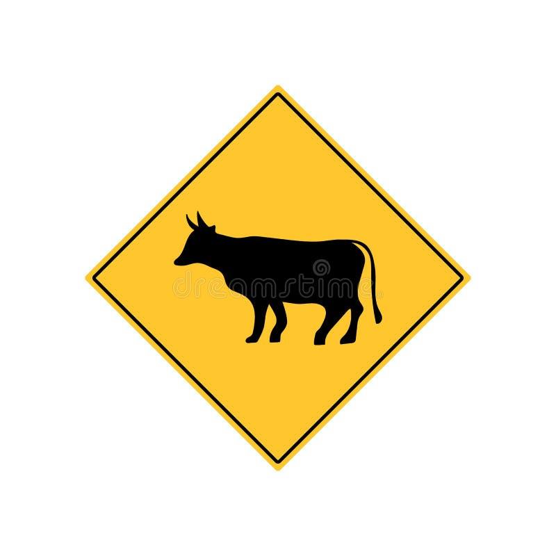 Kovägmärkevarning royaltyfri illustrationer