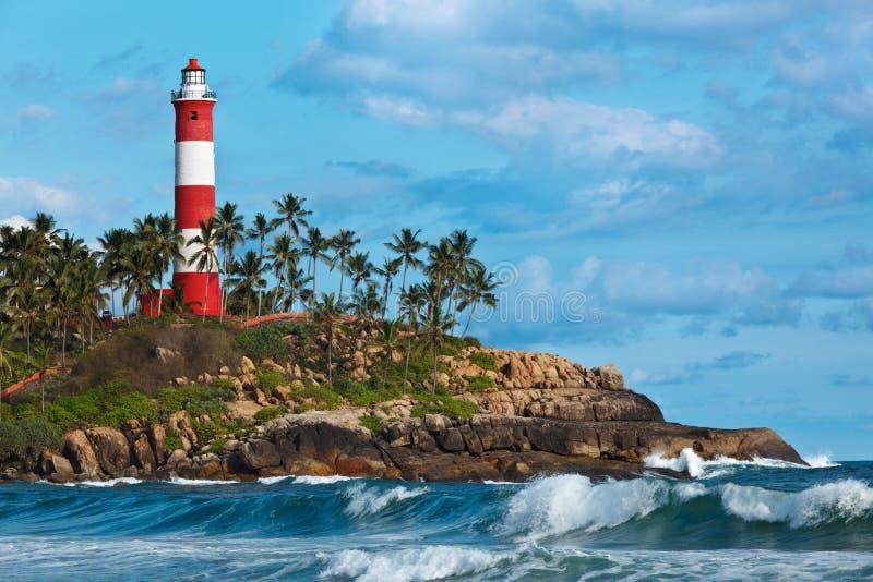 Kovalam (Vizhinjam) Leuchtturm. Kerala, Indien lizenzfreies stockfoto