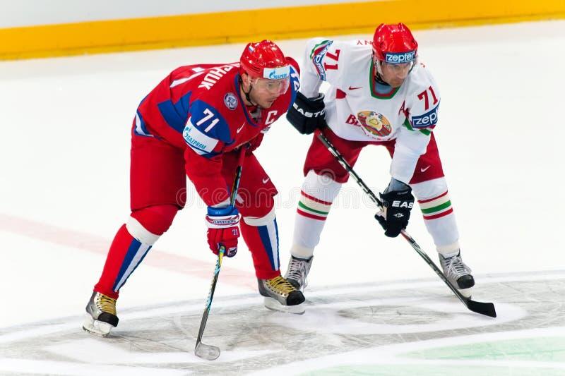 Kovalchuk and Kalyuzhny at IIHF WC 2010 stock photos