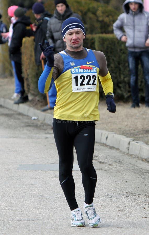 Kovenko Andriy winner of the 20,000 meters race. Walk on Ukrainian Championships on March 07, 2012 in Yevpatoriya, Ukraine stock image