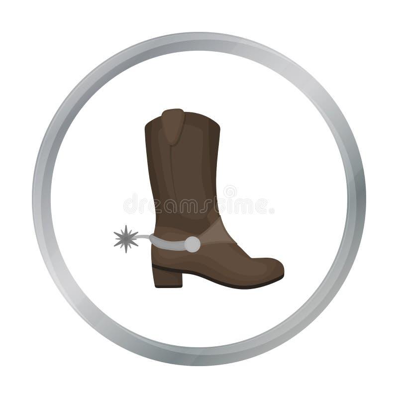 Kowbojów butów ikona w kreskówka stylu odizolowywającym na białym tle royalty ilustracja