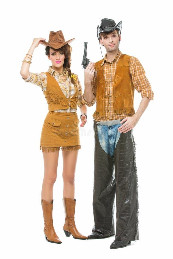 Kowboj i cowgirl z pistoletem obrazy stock