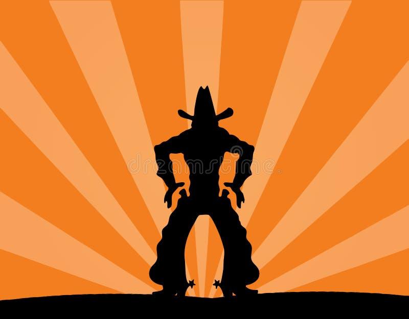 kowboj osamotniony ilustracja wektor