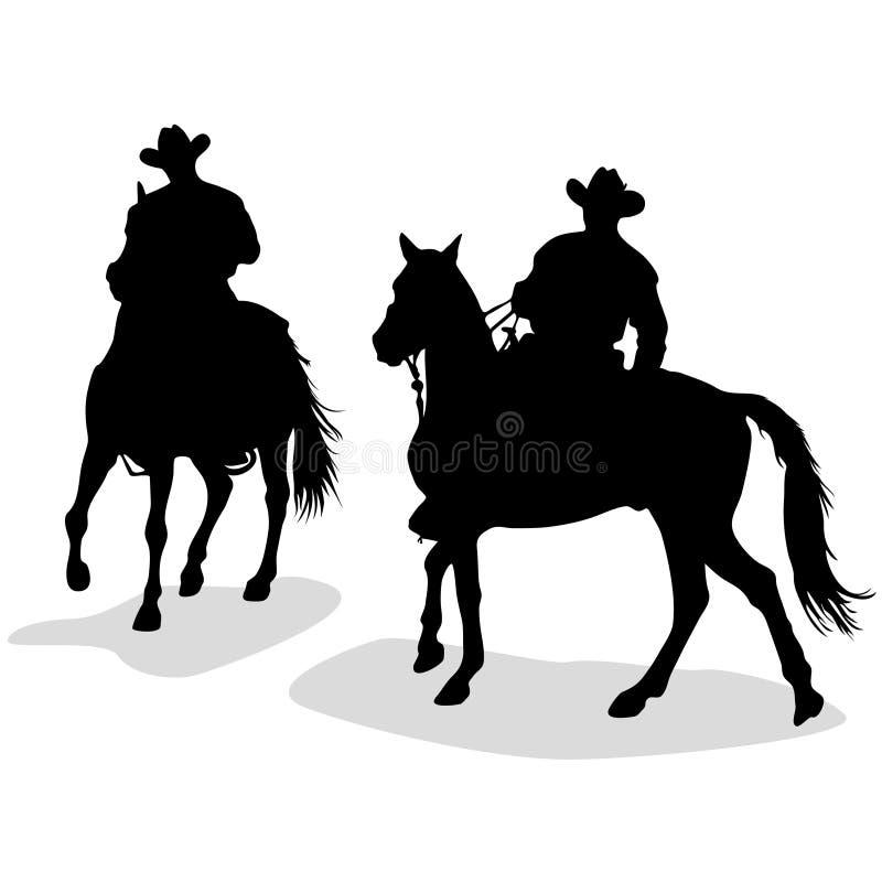kowboj sylwetki royalty ilustracja
