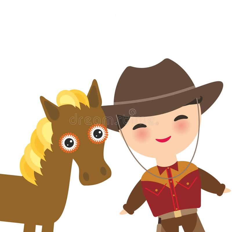 Kowboj z kapeluszową, końską chłopiec w i Kreskówek dzieci w tradycyjnej sukni pojedynczy białe tło Ve ilustracja wektor