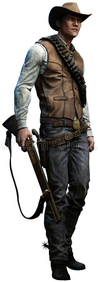 Kowboj z karabinem royalty ilustracja