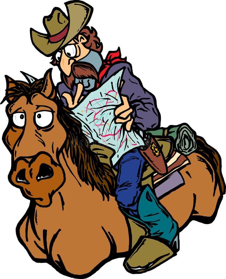 kowboj zagubiony ilustracja wektor