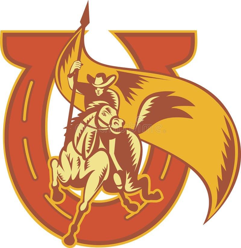 kowboja chorągwianego horsewith jeździecki rodeo ilustracji