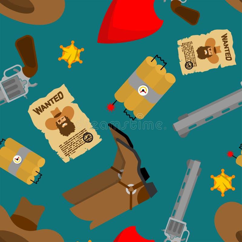 Kowboja deseniowy bezszwowy buty kapelusz western tło Dzicy zachodów buty, chusteczka i Pistolet i szeryf gwiazda ilustracji