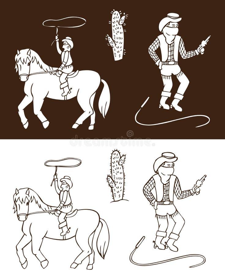 Kowboja dziki zachód royalty ilustracja