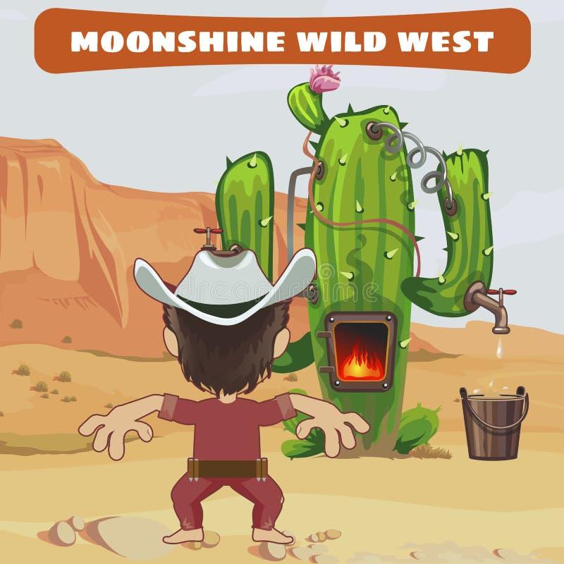 Kowboja kucharz bimber kaktus w dzikim zachodzie ilustracja wektor