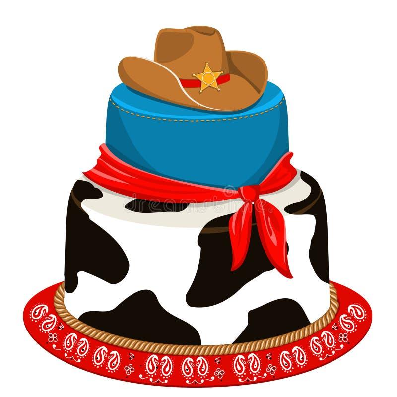 Kowboja partyjny urodzinowy tort ilustracji