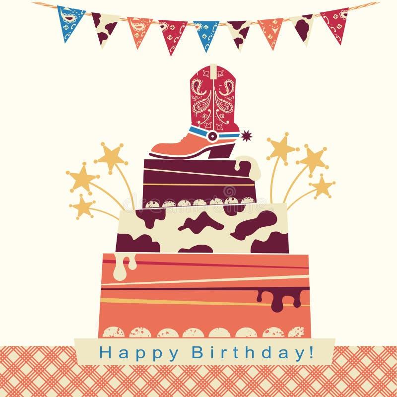 Kowboja przyjęcia karta z dużym torta i kowboja butem royalty ilustracja