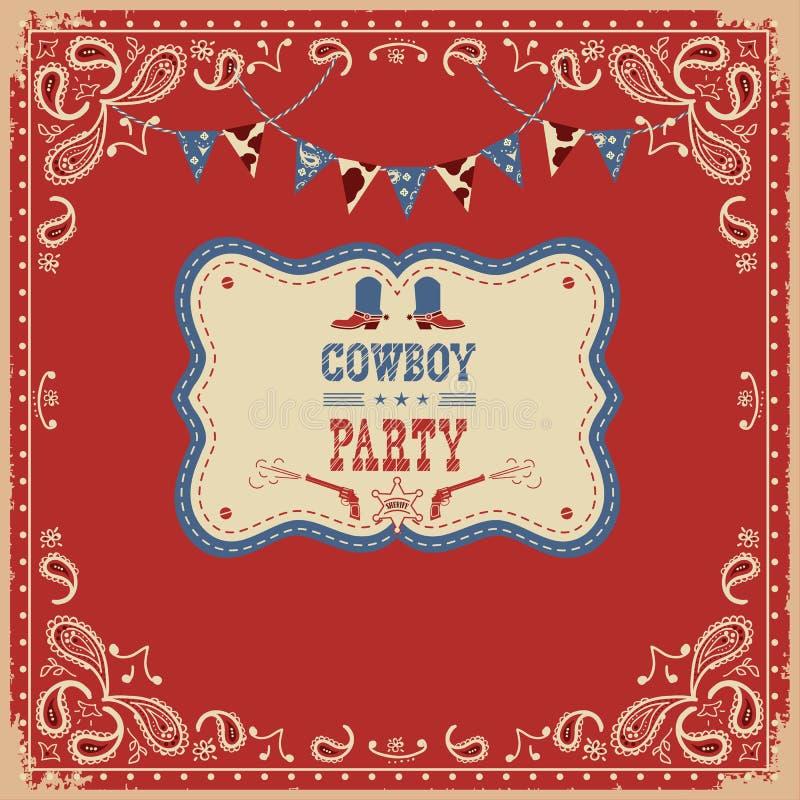 Kowboja przyjęcia karta z tekstem i dekoracjami ilustracji