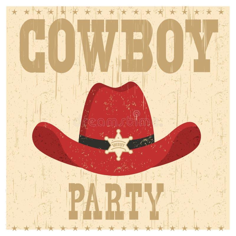 Kowboja przyjęcia karty ilustracja z zachodnim kapeluszem ilustracji