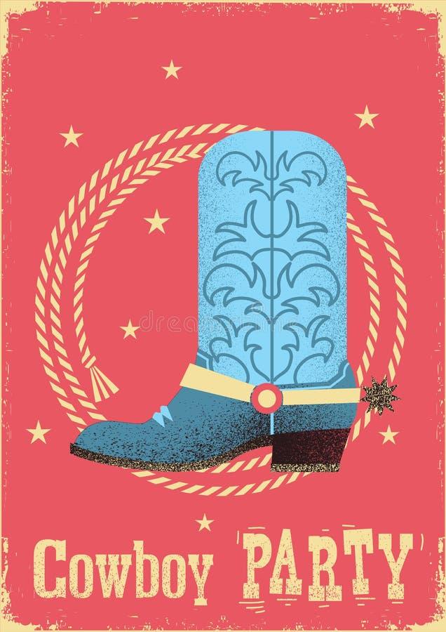 Kowboja przyjęcia karty tło z zachodnim butem i lasso ilustracji