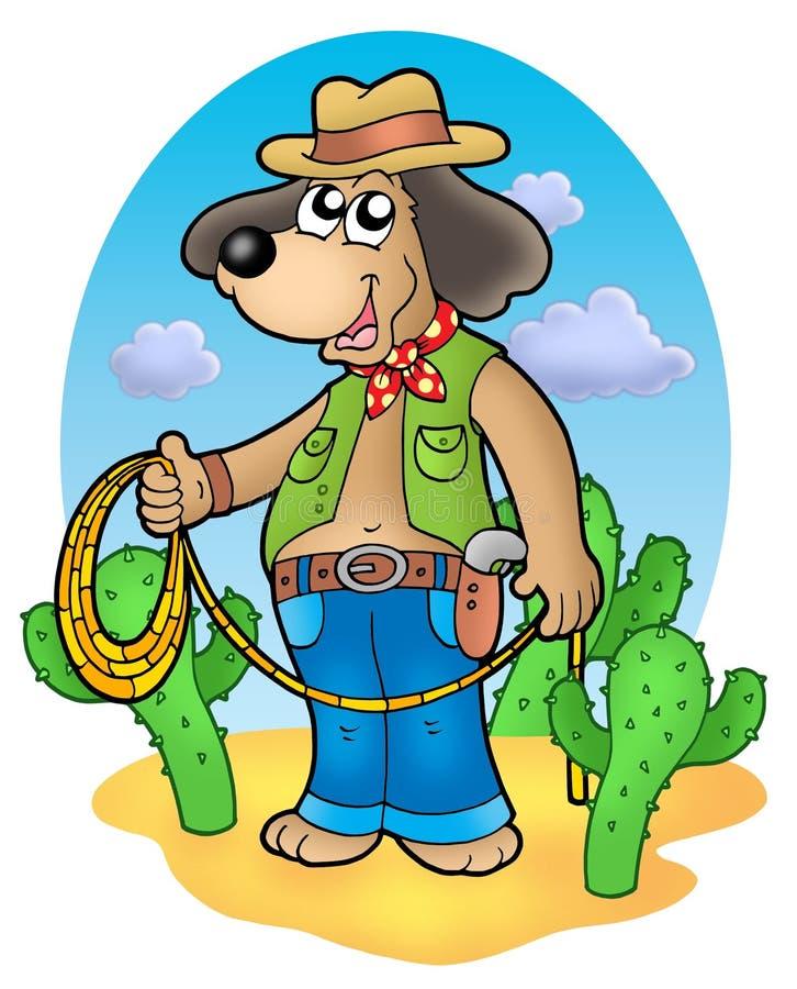 kowboja pustyni psa lasso royalty ilustracja