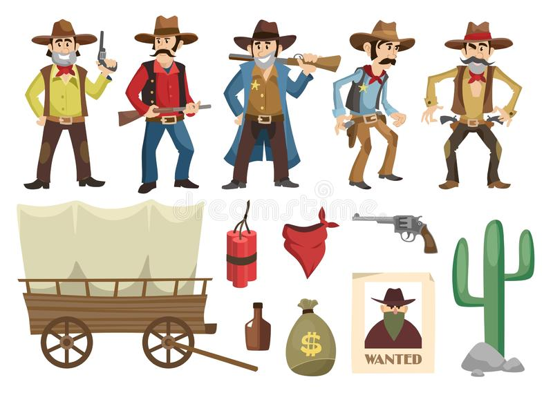 Kowboje ustawiający Zachodni retro ludzie z różnymi broniami i emocje odizolowywać na białym tle Wektorowi dzicy zachodni element ilustracji