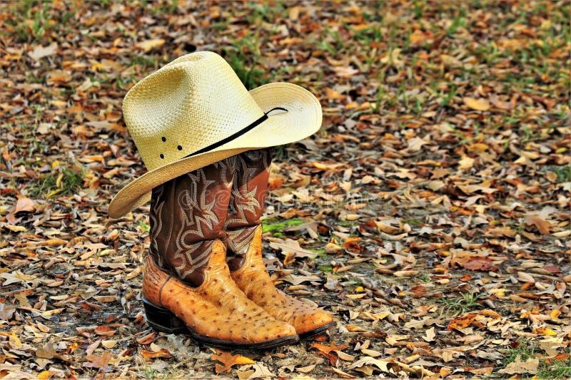 Kowbojscy buty i kapelusz w jesień liściach zdjęcia stock