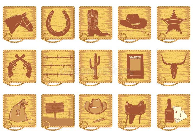 kowbojscy elementy royalty ilustracja