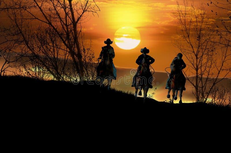 Kowbojscy jeźdzowie przy zmierzchem royalty ilustracja
