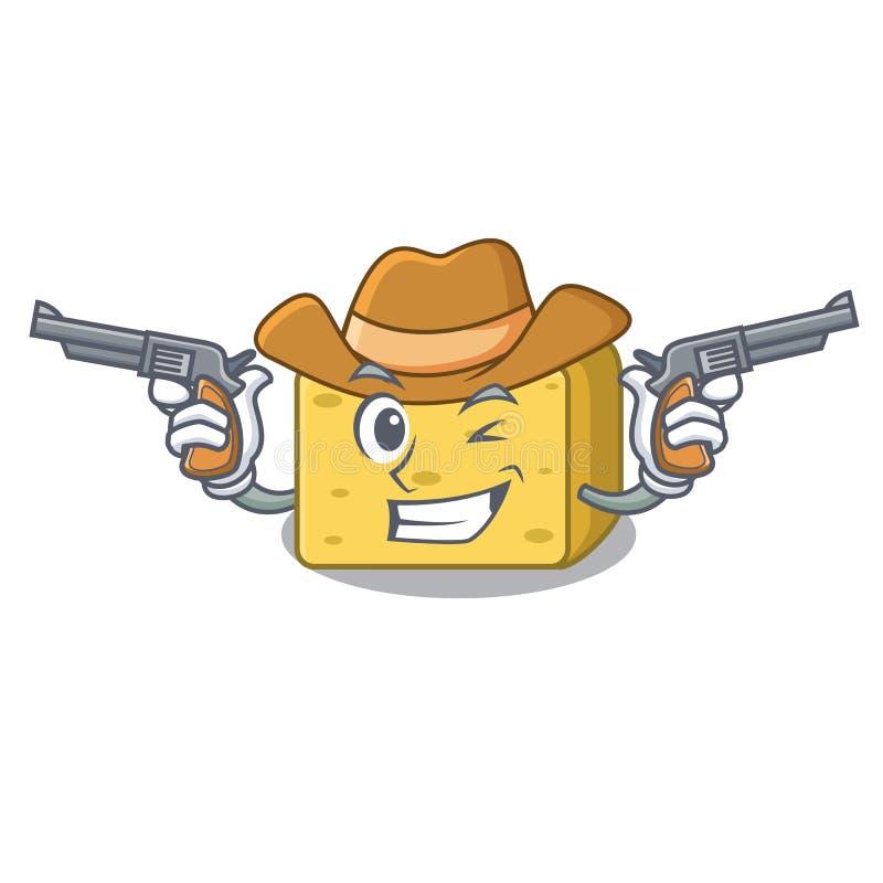 Kowbojska gouda sera charakteru kreskówka ilustracja wektor
