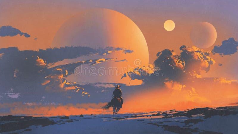 Kowbojska jazda koń przeciw zmierzchu niebu royalty ilustracja