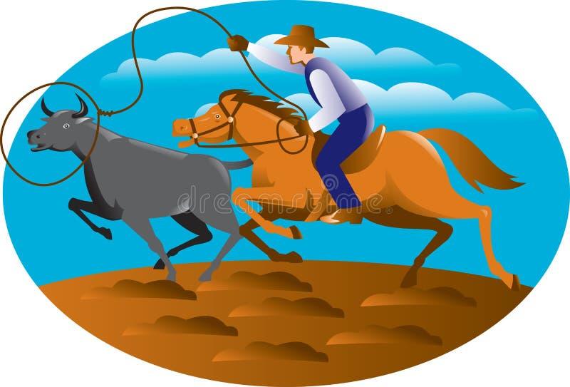 Kowbojska Jeździeckiego konia lasso byka krowa ilustracja wektor