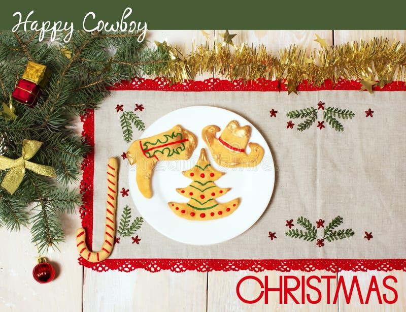 Kowbojska kartka bożonarodzeniowa z ciastkami i wakacje dekoracjami ilustracja wektor