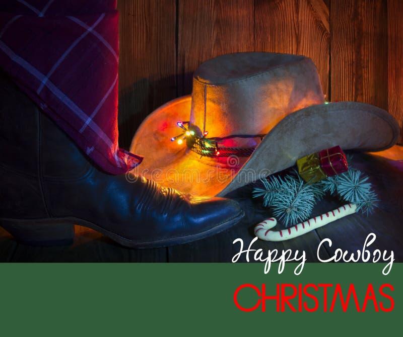 Kowbojska kartka bożonarodzeniowa z wakacyjnymi dekoracjami. ilustracja wektor