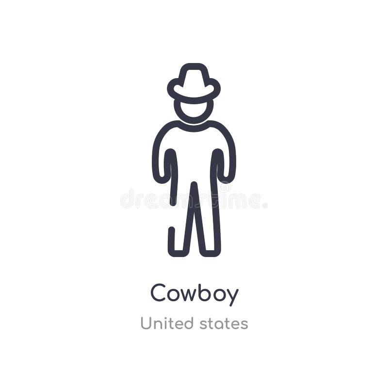 kowbojska kontur ikona odosobniona kreskowa wektorowa ilustracja od zlanych stan?w inkasowych editable cienieje uderzenie kowbojs royalty ilustracja