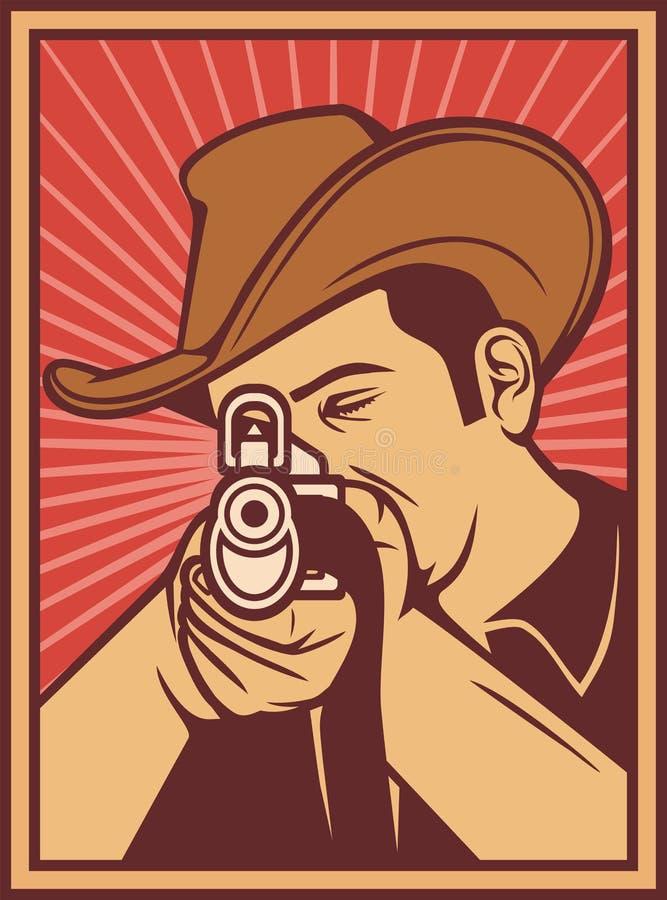 Kowbojska strzelanina karabin ilustracji