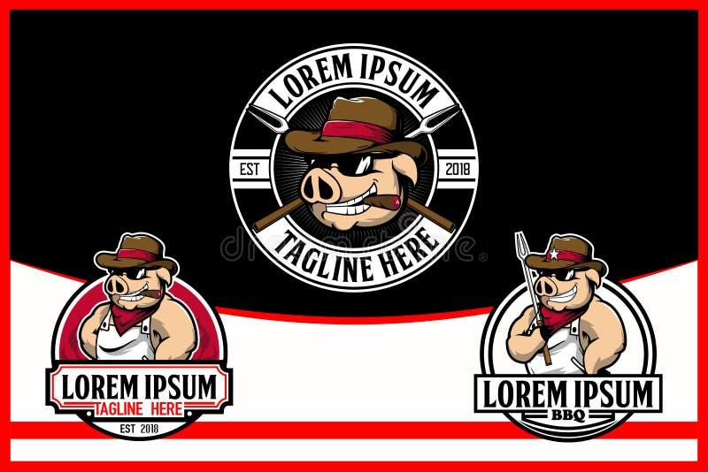 Kowbojska wieprza lub świni kreskówka dla BBQ logo Wektorowego szablonu ilustracji