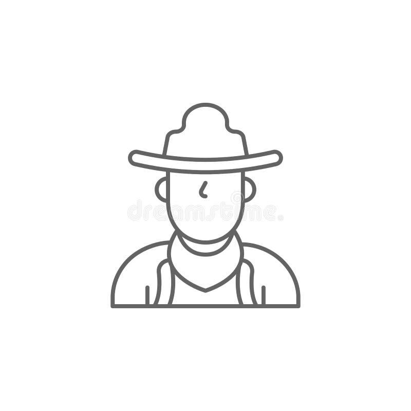 kowbojska zachodnia mężczyzny konturu ikona Elementy dzień niepodległości ilustracji ikona Znaki i symbole mog? u?ywa? dla sieci, ilustracja wektor