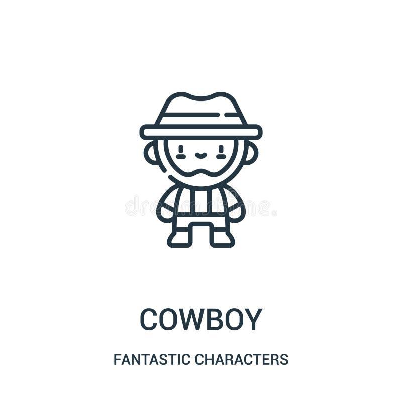 kowbojski ikona wektor od fantastycznych charakterów inkasowych Cienka kreskowa kowbojska kontur ikony wektoru ilustracja royalty ilustracja