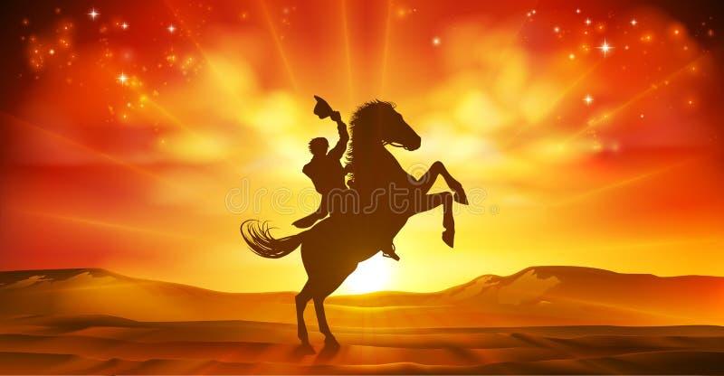 Kowbojski Jeździeckiego konia sylwetki zmierzchu tło ilustracja wektor