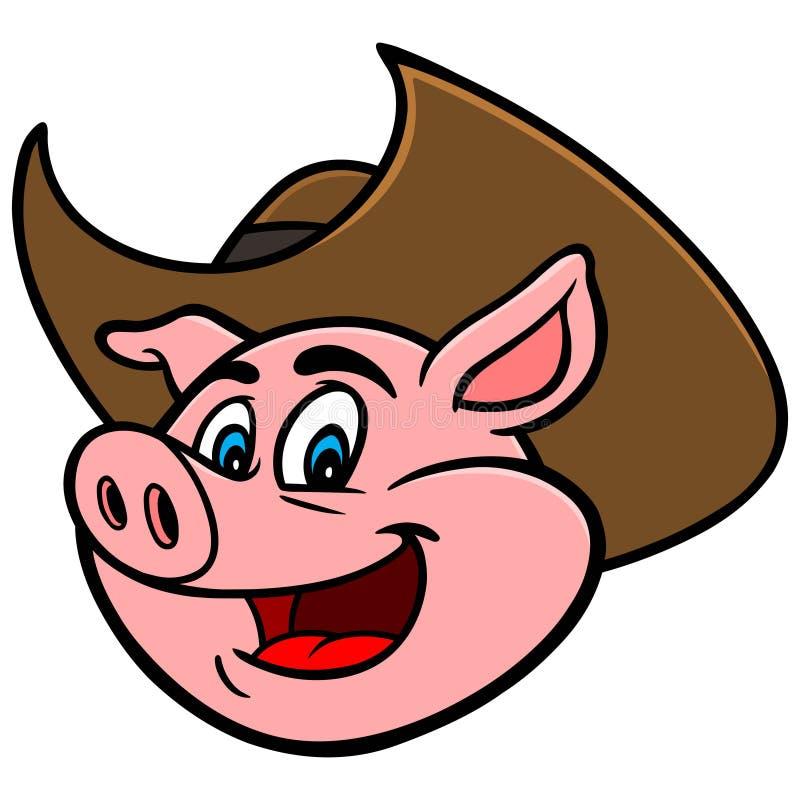kowbojski kapelusz świnia royalty ilustracja