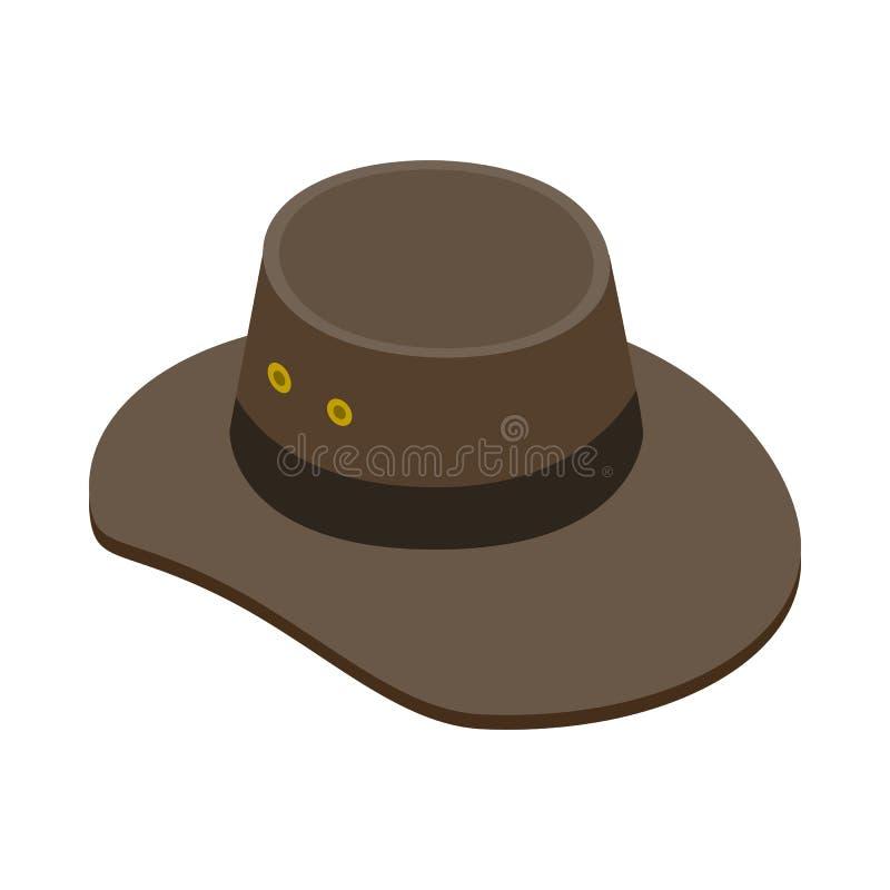 Kowbojski kapelusz ikona, isometric 3d styl royalty ilustracja