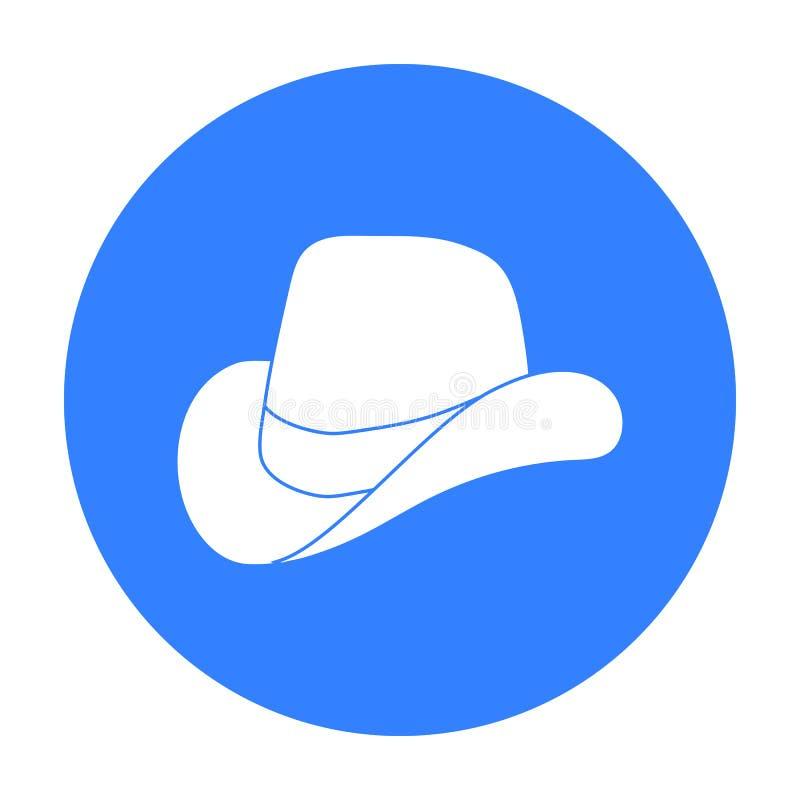 Kowbojski kapelusz ikona w czerń stylu odizolowywającym na białym tle Patriota dnia symbolu zapasu wektoru ilustracja ilustracji