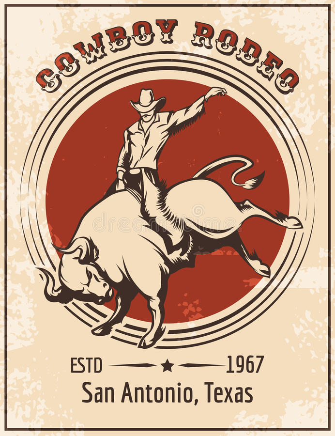 Kowbojski rodeo plakat ilustracja wektor
