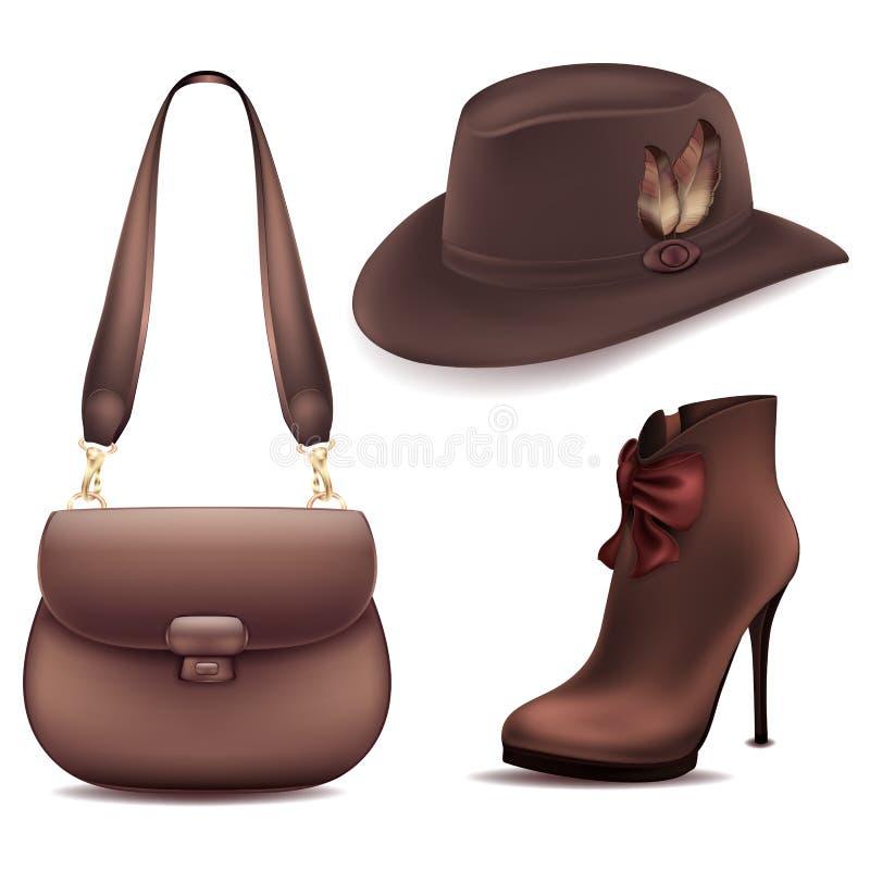Kowbojski ustawiający akcesoria rzemiennej torby zamszowy inicjuje i odczuwany kapelusz z piórkami ilustracji