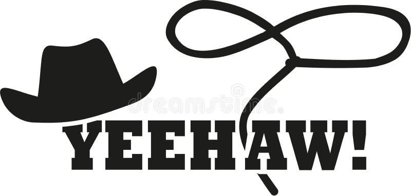 Kowbojski zachodni kapelusz z lasso - yeehaw ilustracji