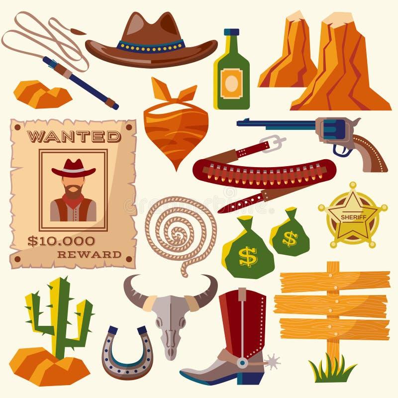 Kowbojskie ikony płaskie royalty ilustracja