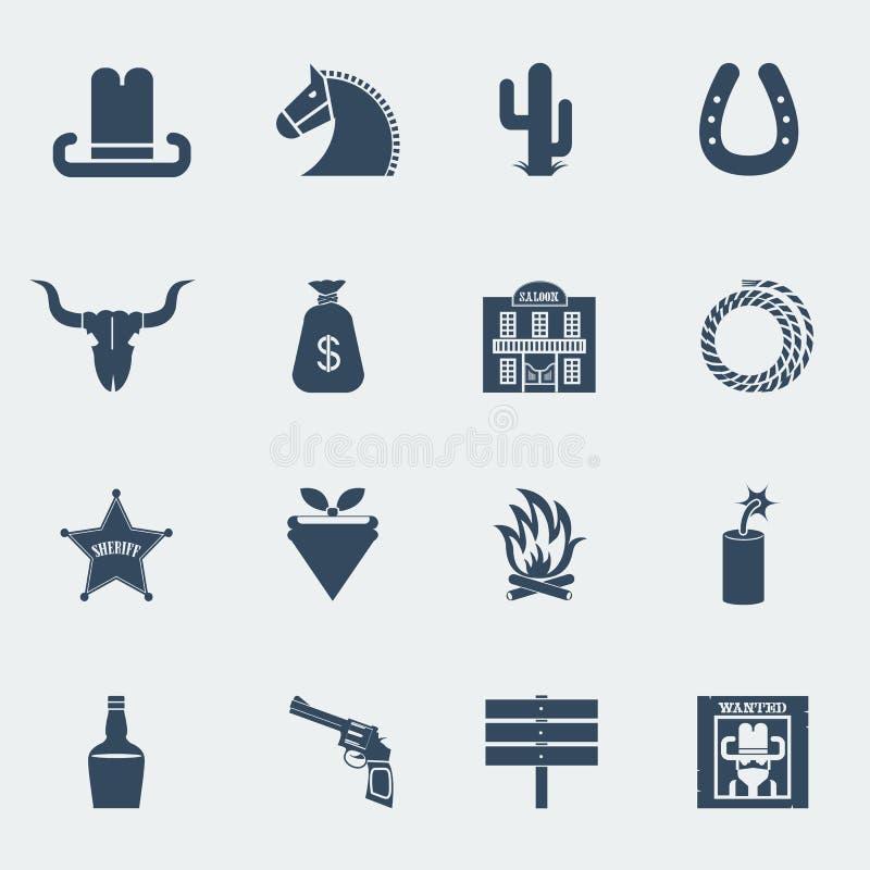 Kowbojskie ikony. Wektorowi dzicy zachodni piktogramy odizolowywający ilustracji