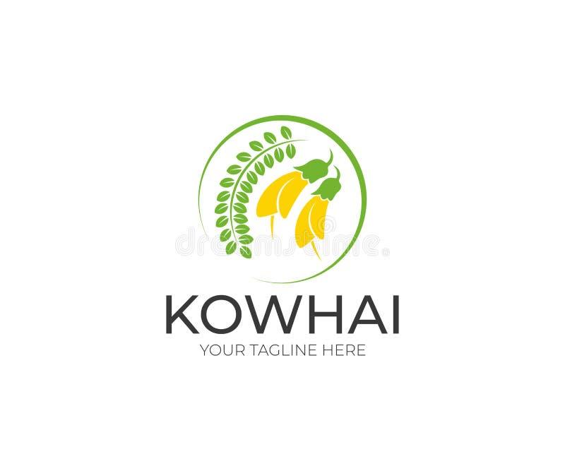 Kowhai Logo Template Mit Blumen  Vektorentwurf lizenzfreie abbildung