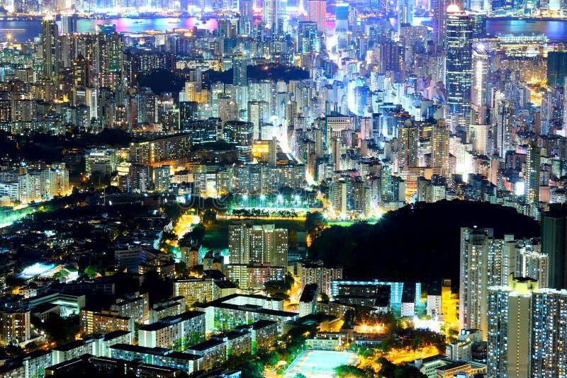 Kowloon bij nacht stock foto's