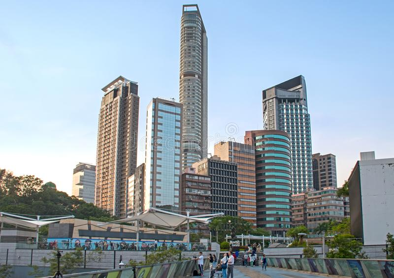 Kowloon City Buildings and Garden of the Stars stock photo