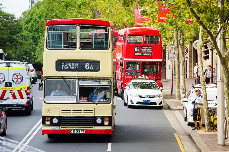 The Kowloon double-decker Vintage bus service running in Sydney. It`s a special service only on Australia day. stock photos
