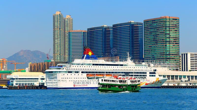Kowloon hamnsikt, Hong Kong arkivfoton